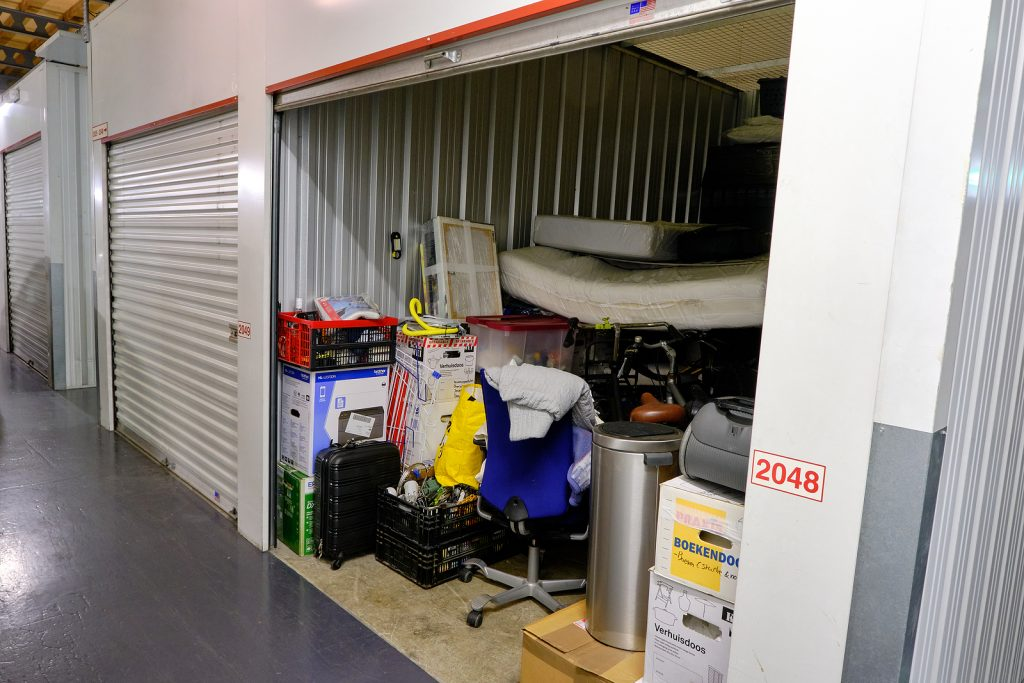 Household goods inside a storage unit