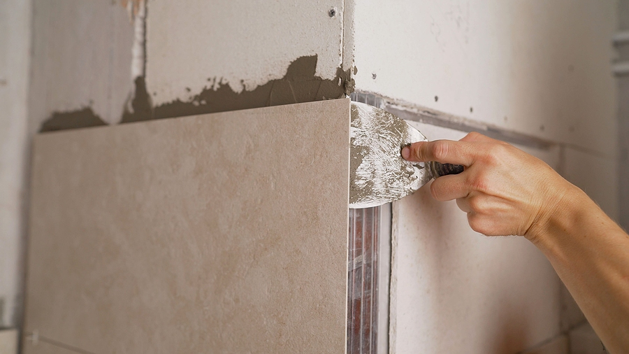Tile work as part of a bathroom renovation